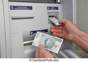 hand, van, een, man, gebruik, bankwezen machine