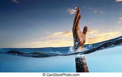 hand, van, persoon, verdrinking, in, water