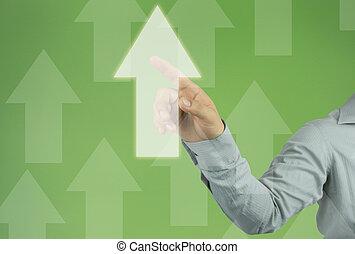 hand, van, zakenman, beroeren, om te, een, zakelijk, richtingwijzer, op, groene, achtergrond.