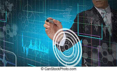 hand, van, zakenmens , werkende , met, feitelijk, digitale , interface