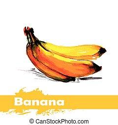 hand, vattenfärg, bakgrund., frukt, oavgjord, vit, målning, banan