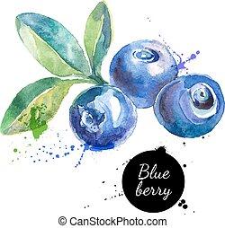 hand, vattenfärg, bakgrund, oavgjord, vit, målning, blåbär
