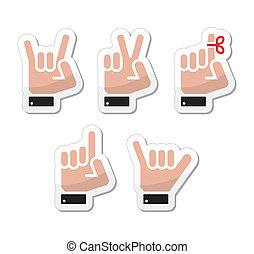 Human hands gesturing - black icons set with reflection