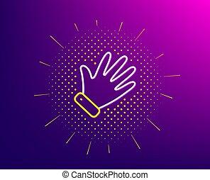 hand, vector, palm, golf, icon., teken., lijn
