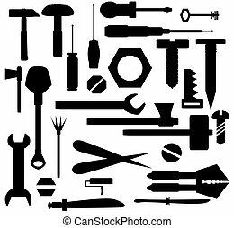 hand verktyg, och, diy, redskapen