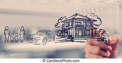hand, verlekkeert, planning, gezin, toekomst, als, concept