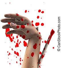 hand, verletzung, schrecklich