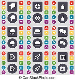 Hand, Videotape, Flag tower, Cloud, Hard drive, Chat, Text file, Rocket, Calendar icon symbol. A large set of flat, colored buttons for your design. Vector