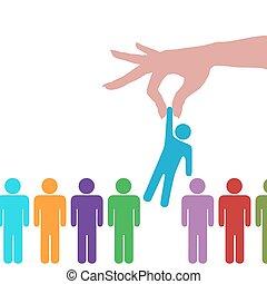 hand, vinden, selekteer, persoon, in lijn, van, mensen