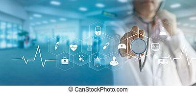 hand, virtuell, doktor, medizin, ikone, vernetzung, schirm, technologie, modern, medizinprodukt, anschluss, schnittstelle, stethoskop, begriff, berühren