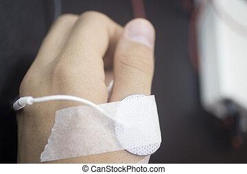 hand, von, a, mann, in, physiotherapie, rehabiliation, von, traumatology