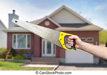 hand, von, arbeiter, mit, hack-saw