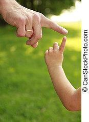 hand, von, elternteil kind, in, natur