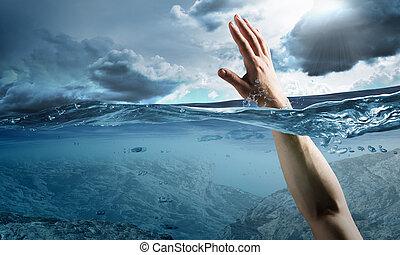 hand, von, person, ertrinken, in, wasser