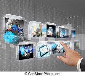hand, voortvarend, aanraakscherm, interface