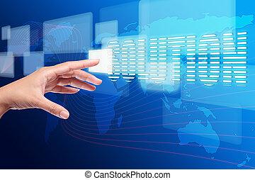 hand, voortvarend, een, oplossing, knoop, op, aanraakscherm,...