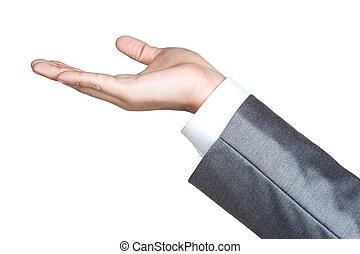 hand, vrijstaand, man, meldingsbord, kostuum