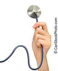 hand, vrouwlijk, vector., stethoscope.