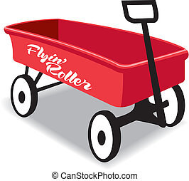 Red kid hand wagon, flying roller, metal
