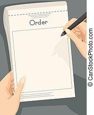 Hand Waiter Order Illustration