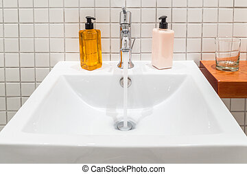 Hand wash basin - White porcelain hand wash basin with...