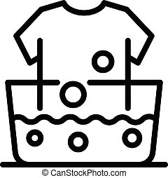 Hand wash clothes icon, outline style