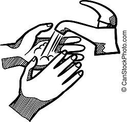 Hand wash drawing. vector illustration