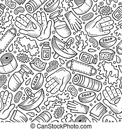 Hand wash hand drawn doodles seamless pattern. Protective measures background. Cartoon print design. Sketchy vector illustrations