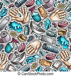 Hand wash hand drawn doodles seamless pattern. Protective measures background. Cartoon print design. Colorful vector illustrations