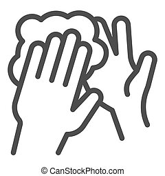 Hand washing with soap foam line icon. Keep hands clean symbol, outline style pictogram on white background. Hygiene to prevent coronavirus sign for mobile concept and web design. Vector graphics.