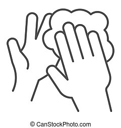 Hand washing with soap thin line icon. Keep hands clean symbol, outline style pictogram on white background. Hygiene to prevent coronavirus sign for mobile concept and web design. Vector graphics.
