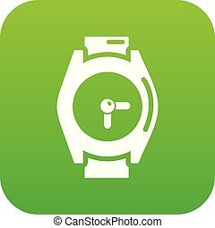 Hand watch icon green vector