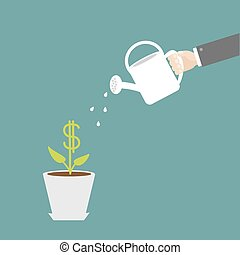 Hand watering can dollar plant in the pot. Financial growth concept.