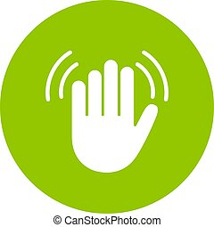 Hand wave vector icon - Hand wave green vector icon