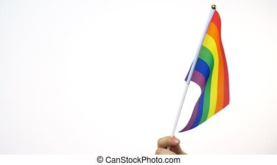 hand waving gay or lgbt pride rainbow colored flag -...