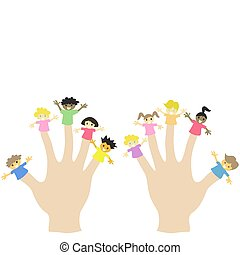 hand wearing 10 finger children puppets
