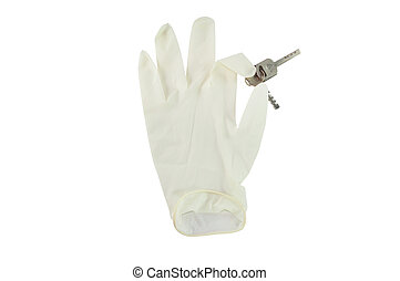 hand white glove on isolated background