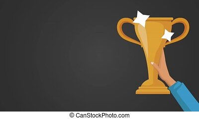 hand winner with trophy animation  illustration design