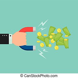 Hand with a big magnet attracts money