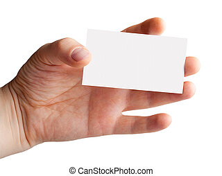 Hand with a blank business card