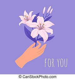Hand with a bouquet of blooming flowers. Bouquet of pink lilies. Floral decorative design element on a purple background. Elegant spring-summer gift. Vector hand-drawn illustration.