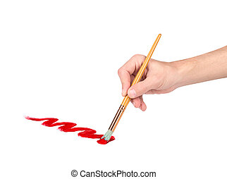 hand with a brush draws red line on an isolated white background