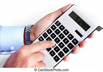 Hand with a calculator. - Hand with calculator. Finance and ...