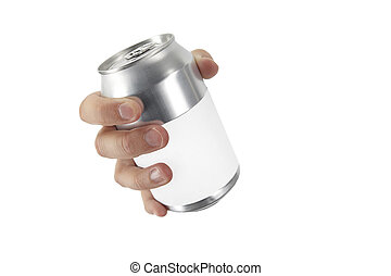 hand with a can - hand on white background with a can more...