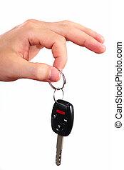 Hand with a car key.