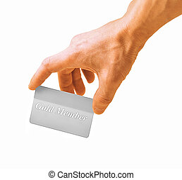 hand with a card isolated on white background