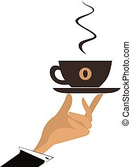 Hand with a cup of coffee vector illustration isolated