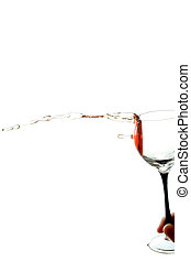 hand with a glass of wine the wine is poured from a glass horisontal isolated on white background