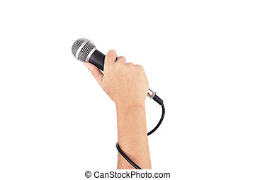 hand with a microphone isolated on white background
