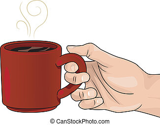 Hand with a Mug of Hot Coffee